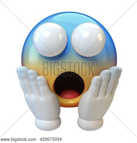 Screaming Emoticon On White Background, Shocked, Scared Emoticon 3d Rendering