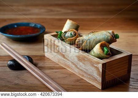 Vietnamese Spring Rolls With Sweet Sauce. Deep Fried Chinese Spring Rolls Spring Rolls With Sweet Ch