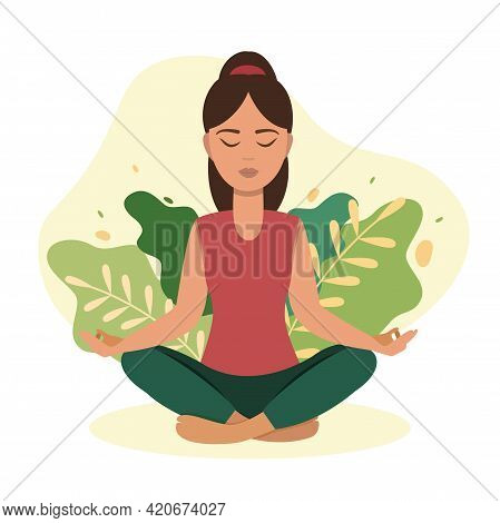 Yong Woman Are Meditating At Home With Plants