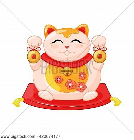 Maneki Neko Is A Fat Cat, A Symbol Of Good Luck And Wealth. Japanese Cat With Raised Paw And Fish. C