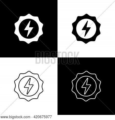 Set Lightning Bolt Icon Isolated On Black And White Background. Flash Sign. Charge Flash Icon. Thund