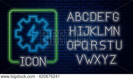 Glowing Neon Gear And Lightning Icon Isolated On Brick Wall Background. Electric Power. Lightning Bo