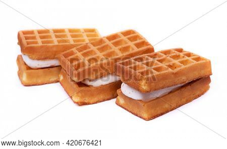 Group of waffles stuffed souffle isolated over white background
