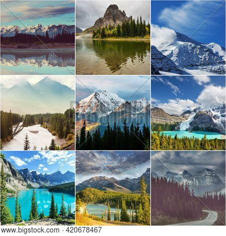Picturesque mountain view in the Canadian Rockies in summer season collection