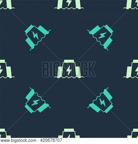 Green And Beige Hydroelectric Dam Icon Isolated Seamless Pattern On Blue Background. Water Energy Pl