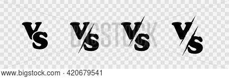 Versus Sign Set On Transparent Background. Comics Vs Letters Versus Sign Or Symbol. Versus Battle Lo