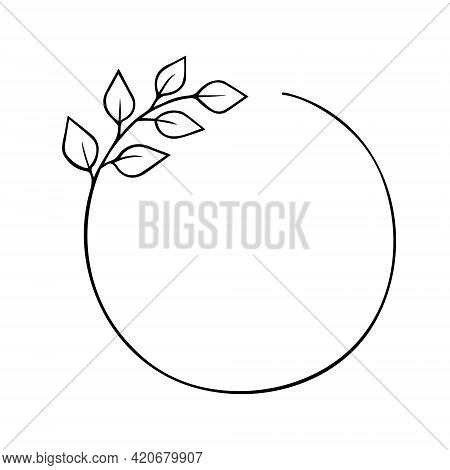 Twig Round Wreath With Leaves Hand Drawn Doodle Outline. Frame Border Black Design Element. Greeting