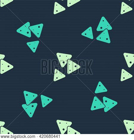 Green And Beige Nachos Icon Isolated Seamless Pattern On Blue Background. Tortilla Chips Or Nachos T