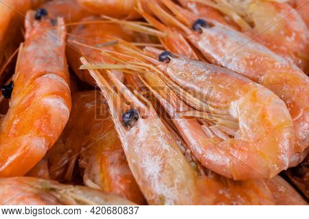 Cooked Unpeeled Shrimp And Prawns, Close-up. Seafood Of The Order Of Crustaceans