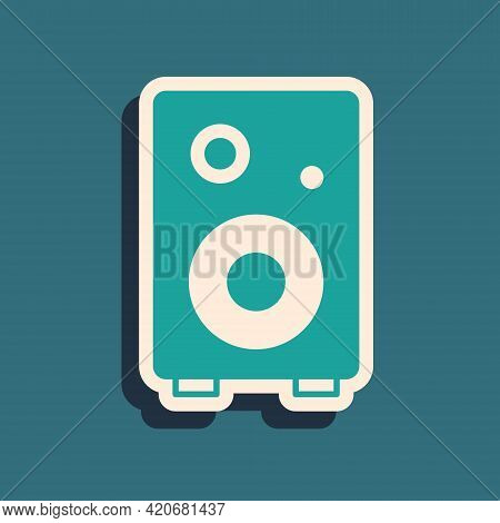 Green Stereo Speaker Icon Isolated On Green Background. Sound System Speakers. Music Icon. Musical C
