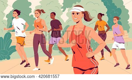 People Running Through The Park. A Group Of Young Men And Women Jogging Outdoors