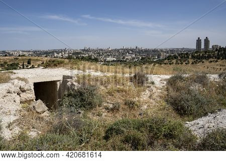 Jerusalem, Israel - May 6th, 2021: A Jordanian Bunker, Ruined In The Six Day War, On A Hill Overlook