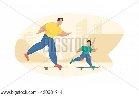 Father And Son Ride Skateboard In Park. Energetic Man Rushes Board With Rollers Along With Joyful Bo