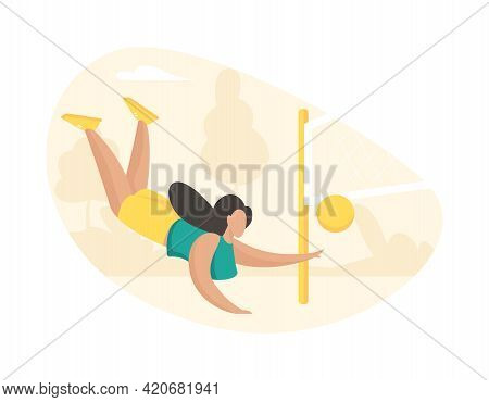 Girl Actively Playing Volleyball. Beautiful Sportive Woman In Fall Hits Ball Through Net. Active Gam