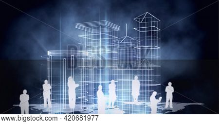 Silhouettes of business people over world map against 3d city model on black background. global business and technology concept