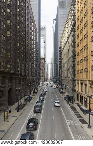 Chicago, Illinois - April 23,2018 : The View Of Chicago Downtown With Street And Hi-rise Building Vi