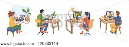 Webinar, Students Learning Online Isolated Flat Cartoon Characters. Distance Or Remote Education On