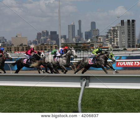 Melbourne November 6 - Horses Race On Oaks Day At Flemington