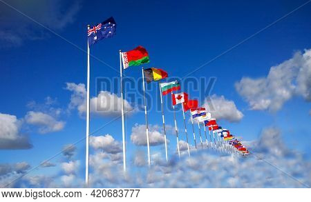 Flags Of Different Countries, Australia, Belarus, Belgium, Bulgaria, Canada, China And Other Above C