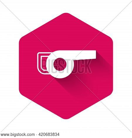 White Leaf Garden Blower Icon Isolated With Long Shadow Background. Pink Hexagon Button. Vector