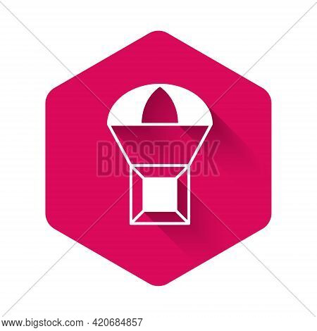 White Box Flying On Parachute Icon Isolated With Long Shadow Background. Parcel With Parachute For S