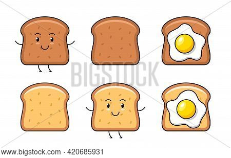 Toast Icon. Fried Egg And Toast. Isolated On White Background