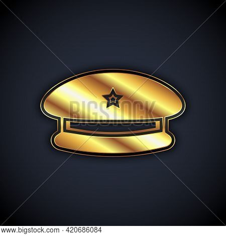 Gold Military Beret Icon Isolated On Black Background. Soldiers Cap. Army Hat. War Baret. Vector