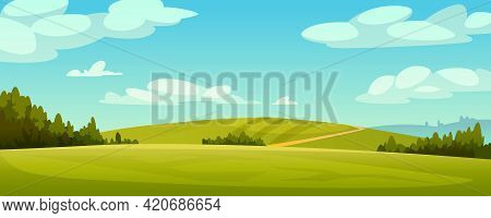Green Fields Landscape, Rural Hills, Pasture Grass, Meadows And Trees, Blue Sky On Background. Vecto