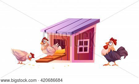 Chicken Coop, Cartoon Warnhouse For Hens And Roosters Isolated. Vector Chick Carry Eggs In Nest, Hen