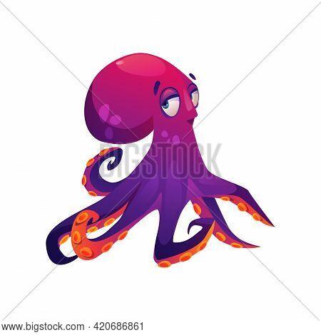Pink Giant Octopus Isolated Cartoon Underwater Animal. Vector Aquatic Wildlife Character, Kids Toy M