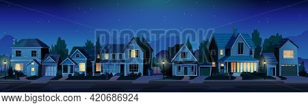 Urban Or Suburban Neighborhood At Night, Houses With Lights, Late Evening Or Midnight. Vector Homes