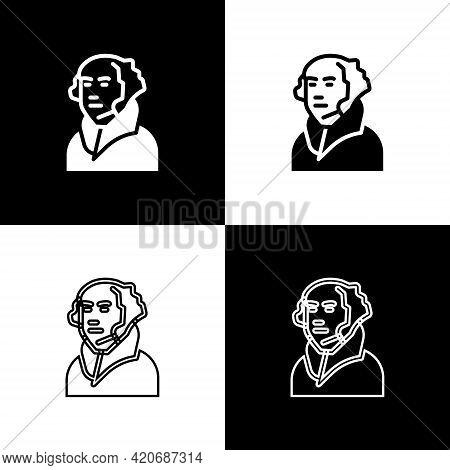 Set George Washington Icon Isolated On Black And White Background. Vector