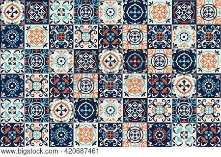 Gorgeous Seamless Pattern Moroccan, Portuguese Tiles, Azulejo, Ornaments. Can Be Used For Wallpaper,