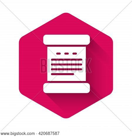 White Declaration Of Independence Icon Isolated With Long Shadow Background. Pink Hexagon Button. Ve