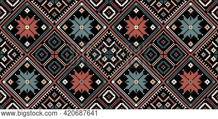 Bohemian, Fashionable Seamless Ornament In Ethnic Style. In Modern Trendy Shades. Perfect For The De