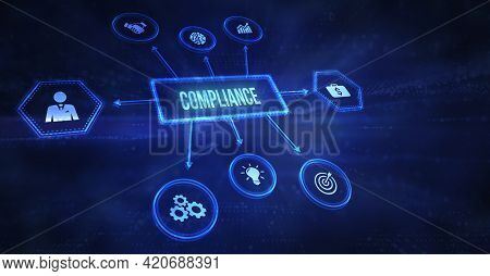 Internet, Business, Technology And Network Concept.compliance Rules Law Regulation Policy. 3d Illust