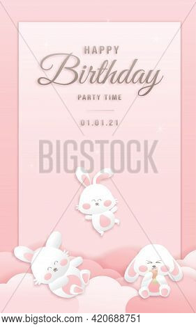 Decorated Birthday Card Beautiful Bunny On Could Paper Style, Paper Cut, And Papercraft. Online Shop