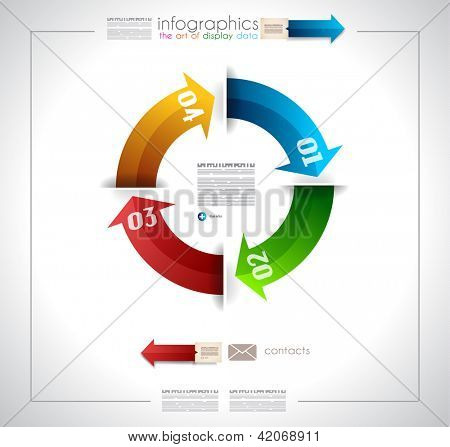 Arrow Ranking Infographics Template with 4 arrows with space for text. Paper effect with delicate shadows.
