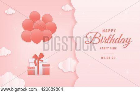 Decorated Birthday Card Beautiful Balloon On Could Paper Style, Paper Cut, And Papercraft. Online Sh