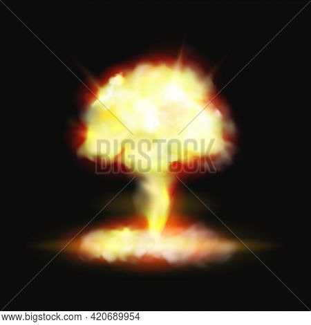 Mushroom Fire Explosion Bomb Or Pyro Burst Realistic 3d Effect On Black Background. Vector Fame And