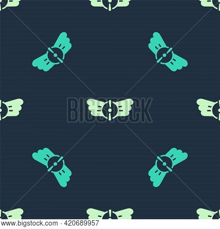 Green And Beige Aviation Emblem Icon Isolated Seamless Pattern On Blue Background. Military And Civi