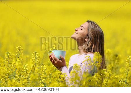 Relaxed Woman Breathing Fresh Air In A Beauty Sunny Forest