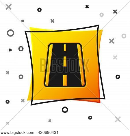 Black Airport Runway For Taking Off And Landing Aircrafts Icon Isolated On White Background. Yellow