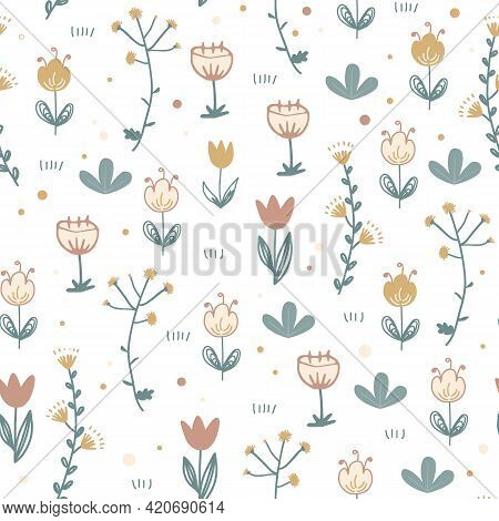 Doodle Floral Seamless Pattern. Scandinavian Style Print With Cute Flowers. Trendy Vector Happy Illu