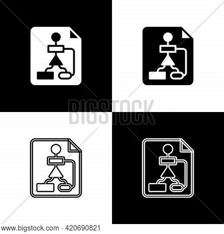 Set Tile Flowchart For Program Design Or Process Management Plan Icon Isolated On Black And White Ba