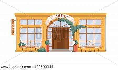 Street Cafe, Coffee Shop Isolated Flat Cartoon Building Facade Exterior. Vector Summer Restaurant Wi