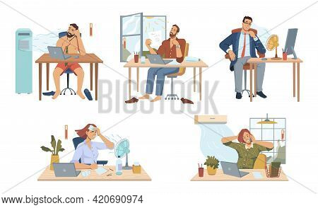 Employees Working In Office During Summer Heat, Isolated People Using Fans And Air Conditioning Syst