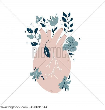 Anatomical Heart With Flowers And Different Plants.