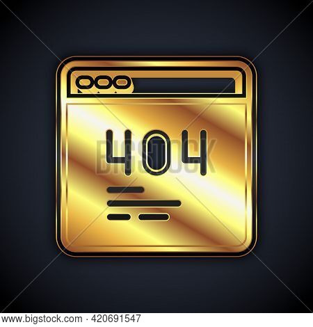 Gold Page With A 404 Error Icon Isolated On Black Background. Template Reports That The Page Is Not