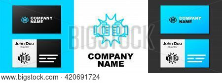 Blue Line Punch In Boxing Gloves Icon Isolated On White Background. Boxing Gloves Hitting Together W